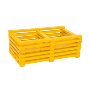 Cachepot Duplo Madeira Amarelo Médio