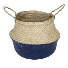 Cachepot Fibra Sintética Ethnic Bege e Azul Grande