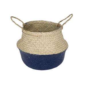 Cachepot Fibra Sintética Ethnic Bege e Azul Médio