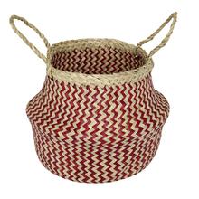 Cachepot Fibra Sintética Ethnic Bege e Vermelho Grande