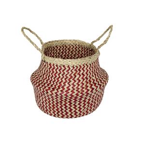 Cachepot Fibra Sintética Ethnic Bege e Vermelho Médio