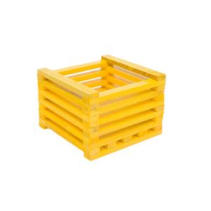 Cachepot Madeira Amarelo Pequeno
