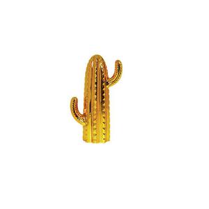 Cacto Cerâmica 18,5cm Dourado