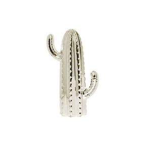 Cacto Cerâmica 28cm Prata
