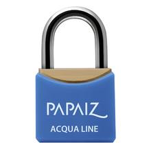 Cadeado Acqua Line com Chave simples 30mm Azul Papaiz