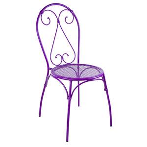 Cadeira Aço Coração Roxo 91x43cm Importado