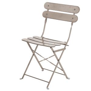 Cadeira Aço Dobrável Ripada Cinza 82x45cm Importado