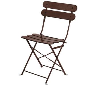 Cadeira Aço Dobrável Ripada Marrom 82x45cm Importado