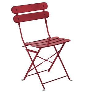 Cadeira Aço Dobrável Ripada Vermelho 82x45cm Importado