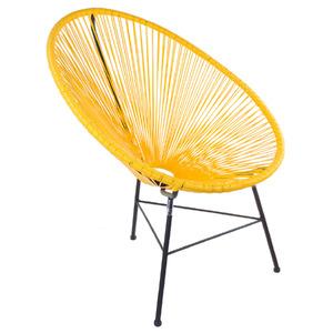 Cadeira Aço e Pvc Retro Oval Amarelo 89x84cm Importado
