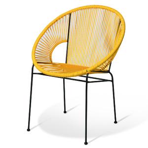 Cadeira Aço e Pvc Retro Redonda Amarelo 81x67cm Importado