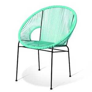 Cadeira Aço e Pvc Retro Redonda Azul 81x67cm Importado