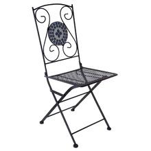 Cadeira Aço Mosaico Azul e Branco 92x37cm Importado