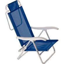 Cadeira Alumínio Dobrável Reclinável 2 Posições Sol de Verão Azul 88x57cm Mor