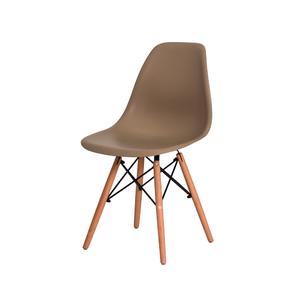 Cadeira Eames Eiffel Polipropileno Nude Base Madeira