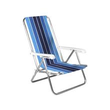 Cadeira de Praia Alumínio 4 Posições Azul e Branca 84x54cm