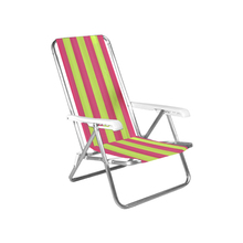 Cadeira de Praia Alumínio 4 Posições Verde e Rosa 84x54cm