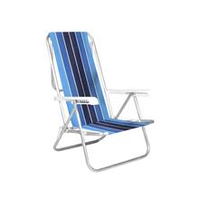 Cadeira de Praia Alumínio 8 Posições Azul e Branca 87x54cm
