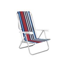 Cadeira de Praia Alumínio 8 Posições Azul e Vermelha 87x54cm
