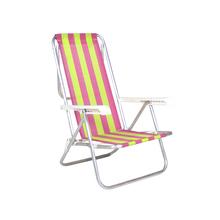 Cadeira de Praia Alumínio 8 Posições Verde e Rosa 87x54cm