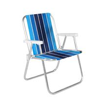 Cadeira de Praia Alumínio Alta Azul e Branca 54x70cm