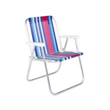 Cadeira de Praia Alumínio Alta Azul e Vermelha 54x70cm