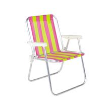 Cadeira de Praia Alumínio Alta Verde e Rosa 54x70cm