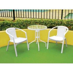 Cadeira Fixa Gana Alumínio/Fibra Sintética Branco com Braço 56x70x56cm Outdoor