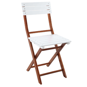 Cadeira Madeira Dobrável Bistro Branco 102x42cm Importado