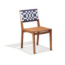 Cadeira Madeira Salinas Azul e Branco 84x44cm