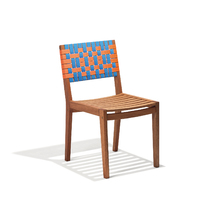 Cadeira Madeira Salinas Azul e Laranja 84x44cm