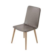 Cadeira Plástico e Madeira Pé Palito Taupe 60x50cm