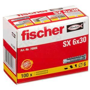 Caixa com 100 Buchas SX 6mm Fischer