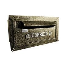 Caixa de Correio para Grade/Muro Dourado Turquesa 14x27x18cm Prates & Barbosa