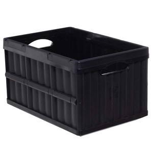 Caixa Organizadora de Plástico Retangular Preta 30x53x36cm Dobrável Arthi