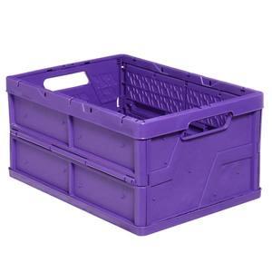 Caixa Organizadora de Plástico Retangular Roxa 23x48x35cm Dobrável Cobrirel