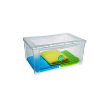 Caixa Organizadora Média Alto c/Tampa Plástico Natural 64x43x31cm Radical Color
