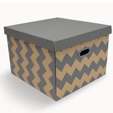 Caixa Organizadora Papelão  Kraft e Cinza 0,295x42x44 Storage Decor  Boxgraphia