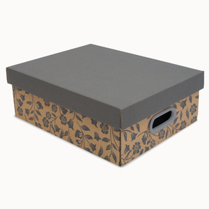 Caixa Organizadora Papelão  Kraft e Cinza 12x28x35 Pratika Decor Boxgraphia