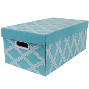 Caixa Organizadora Papelão Azul com Alça 51x28,5x20,5 cm Facilit Boxgraphia