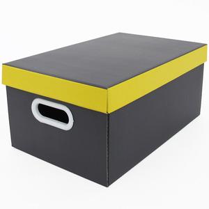 Caixa Organizadora Papelão Grafite e Amarela Boxgraphia