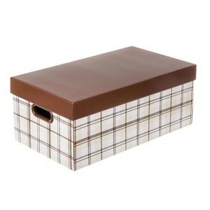 Caixa Organizadora Papelão Marrom e Bege 21x51x29cm New Xadrez Boxgraphia
