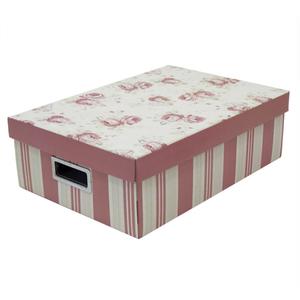 Caixa Organizadora Papelão Rosa com Alça 12X27X39cm Emily Boxgraphia