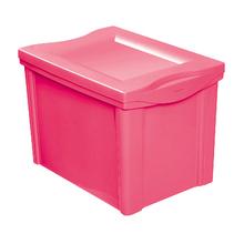 Caixa Organizadora Plástica Rosa 30,7x42,5x30,5cm 30L Ordene
