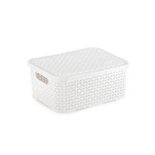Caixa Organizadora Plástico 4L 10,7x25,5x20cm Branco Rattan