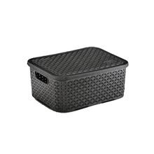 Caixa Organizadora Plástico 4L 10,7x25,5x20cm Preto Rattan