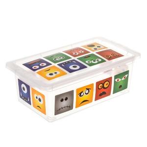 Caixa Organizadora Plástico 5,5L Colorido com Tampa 11,70x19x34,30cm Decorativa São Bernardo