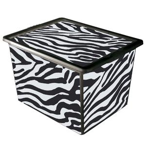 Caixa Organizadora Plástico Branco e Preto 28L Zebra São Bernado