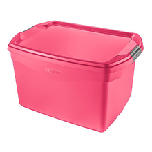 Caixa Organizadora Plástico Flex 29L Rosa Sanremo