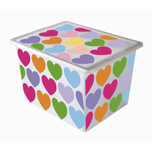 Caixa Organizadora Plástico Incolor 28L 26,5x32,5x42cm Label Coração São Bernado